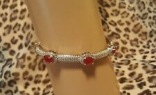 High End Ruby Bangle Bracelet in 18K White Gold Plated