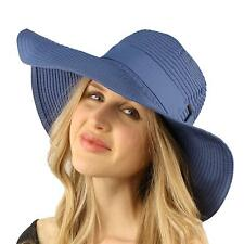 "50+ UPF Packable Beach Summer 4-3/8"" Wide Brim Buckle Floppy Sun Hat Cap Blue"