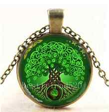 Vintage Green Celtic Tree Of Life Cabochon Glass Bronze Chain Necklace