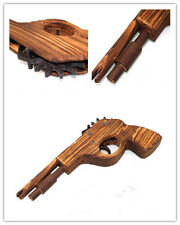 KE UK Classical Rubber Band Launcher Wooden  Hand Pistol Gun Shooting Toy Gifts
