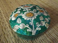 Hand painted kashmir papier mache round sea green glitter floral trinket box