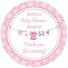 24 PINK GLOSS BABY SHOWER,CHRISTENING, THANK YOU STICKERS, PERSONALISED