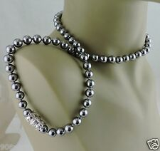 VINTAGE FAUX TAHITIAN BLACK/SILVER PEARL NECKLACE SIGNED NOLAN MILLER 22""