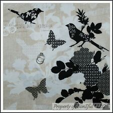 BonEful Fabric FQ Cotton Brown Black White Butterfly Music Bird Flower Tree OOP