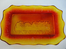 Amberina Indiana Tiara Glass LAST SUPPER SERVING TRAY Plate Jesus Disciples Leaf