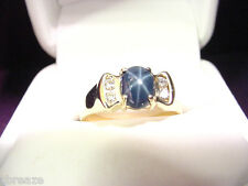 GENUINE BLUE STAR SAPPHIRE 1.52 CTS  and DIAMONDS 14K GOLD RING