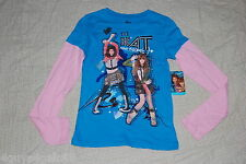 Rocky Cece BEAT NEVER STOPS Girls L 10-12 L/S Glitter T Shirt TURQUOISE PINK