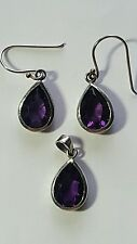 925 Sterling Silver Amethyst Pendant Necklace and Earrings Tear drop