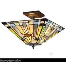 Ceiling Fixture 2 Light Mission Tiffany Style Lighting Stained Glass Handcrafted