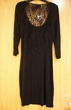 Warehouse black deep cut lace back dress with long sleeves UK size 6 *BNWT*