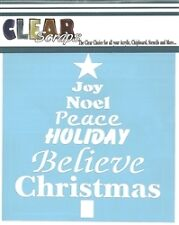 "Clear Scraps 6"" stencil ""Word Christmas Tree""for airbrush, decorative tole paint"