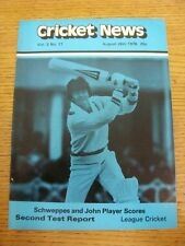 26/08/1978 Cricket News: Vol.02 No.17 - A Weekly Review Of The Game, Schweppes &