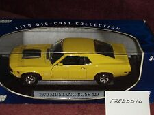 MOTOR MAX 1970 FORD MUSTANG BOSS 429 YELLOW/BLACK INTERIOR & TRIM 1/18 MIB