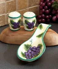 Grape Kitchen Countertop Set Spoon Rest Salt & Papers Shakers Fruits Decor