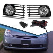 For 2004-2009 Toyota Prius Fog Lights Clear Lens Front Bumper Lamps Complete Kit