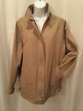 pre-owned authentic BURBERRY lady's Size LARGE tan windbreaker w/Nova Check