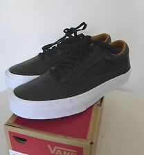 Vans Old Skool Premium Leather Black Skateboard Sneakers 9M New $70