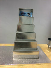 "SET OF 6 HEAVY CAKE BAKING PANS 5 TIER SQUARE + 6"" RECTANGLE WEDDING CAKE TINS"