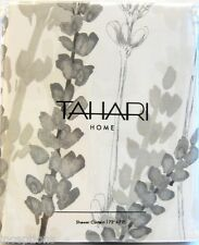 Tahari Cotton Blend Shower Curtain Sprigs Charcoal Taupe Grey White - NEW