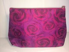 Lancome Dark Pink Floral Print Makeup Cosmetic Bag/Travel Case  BEAUTIFUL