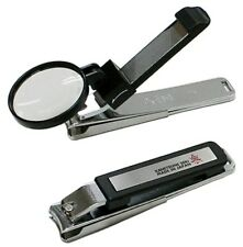 """KANETSUNE 4.13"""" Nail Clipper With Loupe Black Chromium Plating Steel KC-053-BK"""