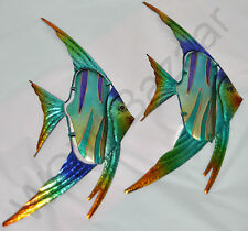 Colourful Tropical Fish Metal Wall Art Hanging Beach Ocean Iron Sculpture 57cm