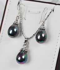 Beautiful 12x16mm Teardrop Black Pearl Pendant Necklace Earring Set AAA