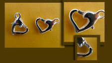 Two sterling silver clasps, open heart shped, 12mm