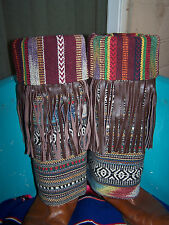 Sold Out~Southwestern Indian Blanket Leather Fringe Boot Rugs Cowboy Boot Covers