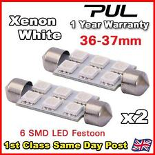 2 x 36mm / 37mm 6 SMD LED FESTOON NUMBER PLATE / INTERIOR BULB -  WHITE