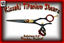 "Kissaki Hair Scissors 5.5"" Gokatana Black Red DOUBLE SWIVEL Hair Cutting Shears"