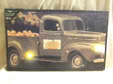 Pumpkin Pick Up Truck Autumn Fall For Sale Lighted Canvas Wall Decor Sign