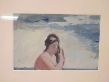 Boris Solotareff Watercolor Painting Picture & Nude Pencil Drawing Double Sided