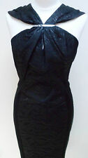 KAREN MILLEN ROUCHED JACQUARD BLACK EVENING COCKTAIL PARTY DRESS, SIZE 14