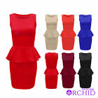 LADIES SMART TAILORED FRILL SHIFT WOMENS SLEEVELESS PEPLUM BODYCON DRESS 8-14