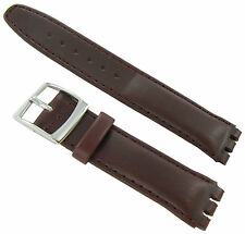 17mm Genuine Oiled Leather Padded Stitched Burgundy Watch Band Fits Swatch