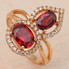 JR1770#7 Luxury Garnet Fashion Jewelry 18K Gold Plated Red Crystal Rings