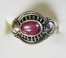 Genuine Star Ruby with Crystalline Flash, 925 Sterling Silver, Ring sz 10.25