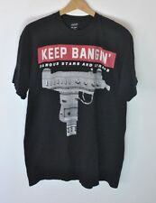 Famous Stars and Straps Keep Bangin Uzi Graphic T-Shirt Black size Large