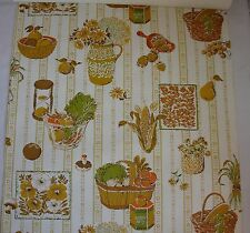 1960's Vintage Wallpaper Kitchen Corn Garlic Mushrooms Fruits
