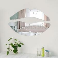 3D Wall Sticker Silver Lips Mirror Surface Design Removable Decals Home Decor