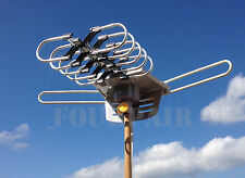 HDTV Outdoor Amplified Antenna HD TV 36dB Rotor Remote 360 UHF/VHF/FM 150 Miles
