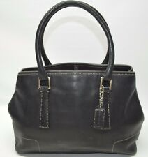 Coach Hamptons Black Leather Small/Medium Expandable Tote Satchel 7755