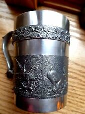 Vintage Mullingar Ireland Pewter Relief Cup -Fox/Goose/Hare- 8 oz.- Charming !