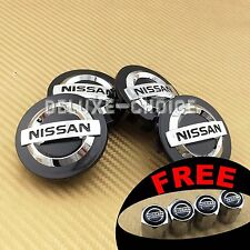 SET OF 4 BLACK CHROME WHEEL HUB CAP CENTER COVER LOGO BADGE CREST NISSAN 54mm