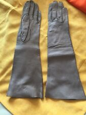 Handmade Long Khaki Grey Leather Gloves Small Vintage Washable! Italy