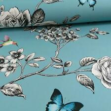 GRANDECO IDECO ROSE GARDEN BIRD BUTTERFLY PATTERN FLORAL MOTIF WALLPAPER TEAL