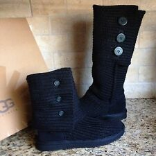 UGG CLASSIC CARDY BLACK TALL KNIT BOOTS US 8 WOMENS #1005819