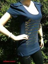NEW NAVY BLUE GOLD MILITARY MOTIF LOW SCOOP NECK COTTON INTERNACIONALE TOP 14