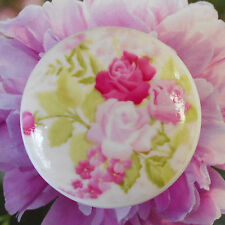 Romantic Pink Roses Ceramic Knob Flowers desk kitchen office Drawer room Pull